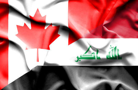 iraq conflict: Waving flag of Iraq and Canada