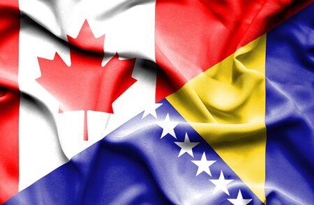 herzegovina: Waving flag of Bosnia and Herzegovina and Canada Stock Photo