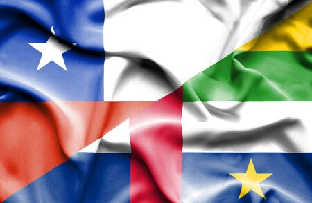 central african republic: Waving flag of Central African Republic and Chile Stock Photo