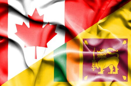 sri lankan flag: Waving flag of Sri Lanka and Canada Stock Photo