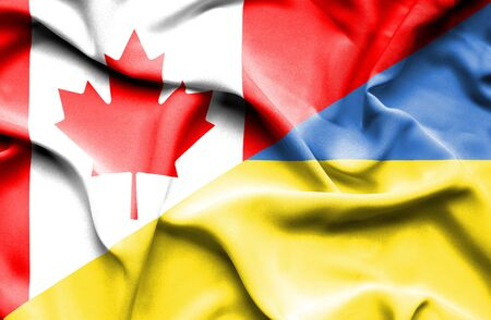 canadian: Waving flag of Ukraine and Canada