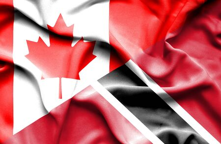 trinidad and tobago: Waving flag of Trinidad and Tobago and Canada Stock Photo