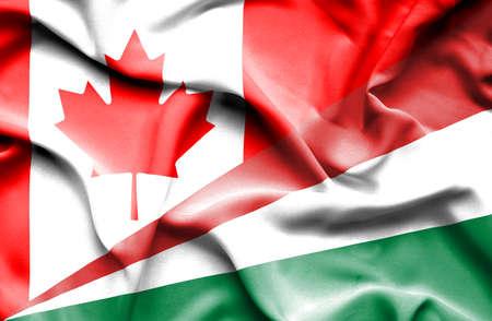 seychelles: Waving flag of Seychelles and Canada
