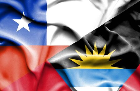 antigua: Waving flag of Antigua and Barbuda and Chile