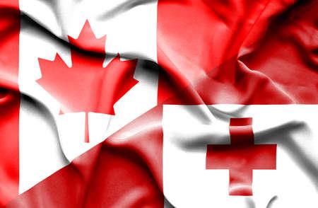 tonga: Waving flag of Tonga and Canada