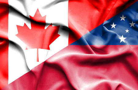 samoa: Waving flag of Samoa and Canada Stock Photo