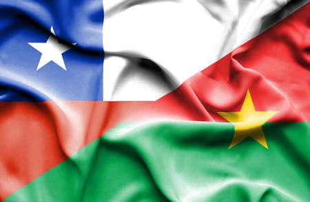 burkina faso: Waving flag of Burkina Faso and Chile