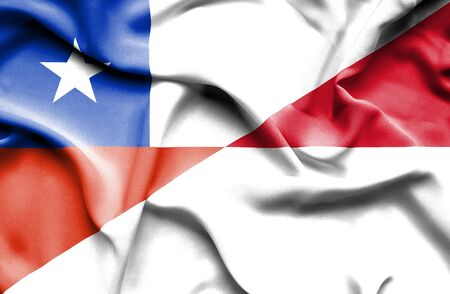 monaco: Waving flag of Monaco and Chile