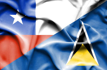 st lucia: Waving flag of St Lucia and Chile