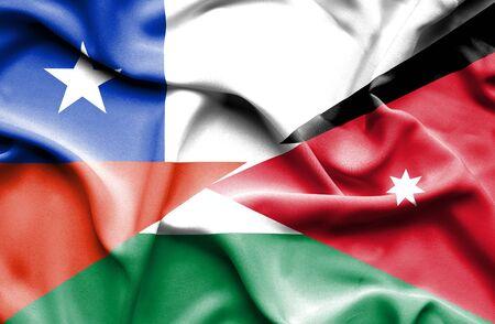 jordan: Waving flag of Jordan and Chile