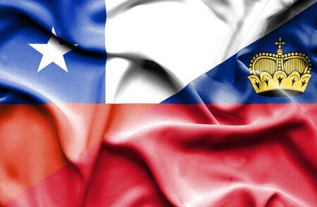 lichtenstein: Waving flag of Lichtenstein and Chile Stock Photo