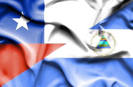 nicaragua: Waving flag of Nicaragua and Chile