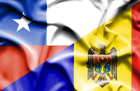 moldavia: Waving flag of Moldavia and Chile Stock Photo