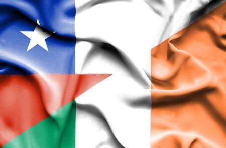 ireland flag: Waving flag of Ireland and Chile