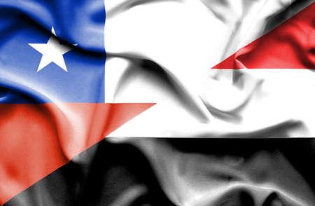 yemen: Waving flag of Yemen and Chile