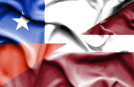 latvia: Waving flag of Latvia and Chile