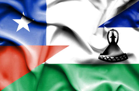 lesotho: Waving flag of Lesotho and Chile