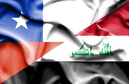iraq war: Waving flag of Iraq and Chile