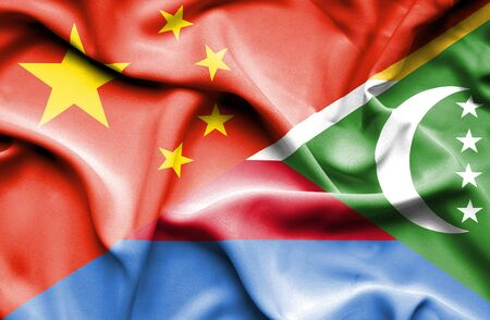 comoros: Waving flag of Comoros and