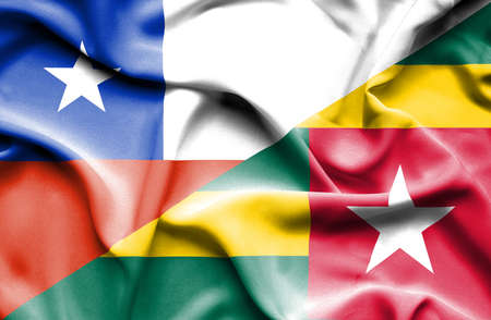 togo: Waving flag of Togo and Chile