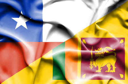 sri lankan flag: Waving flag of Sri Lanka and Chile