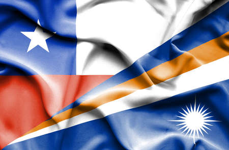 marshall: Waving flag of Marshall Islands and Chile