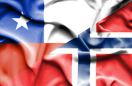 norway flag: Waving flag of Norway and Chile