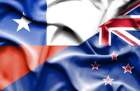 bandera de nueva zelanda: Ondeando la bandera de Nueva Zelanda y Chile Foto de archivo