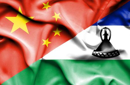lesotho: Waving flag of Lesotho and