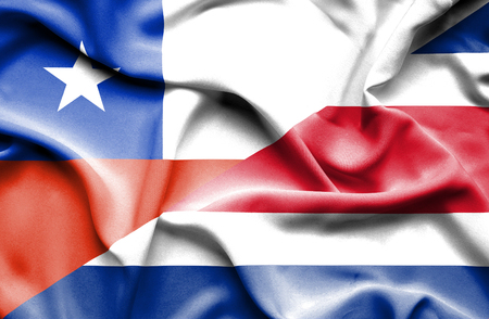 costa rica: Waving flag of Costa Rica and Chile