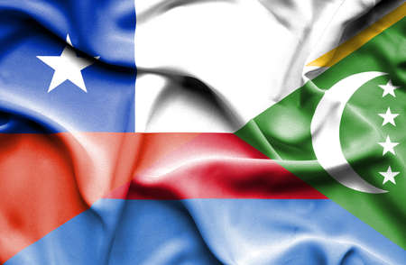 comoros: Waving flag of Comoros and Chile