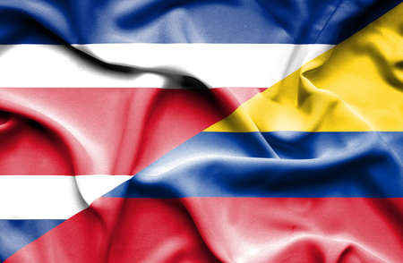 columbia: Waving flag of Columbia and Costa Rica