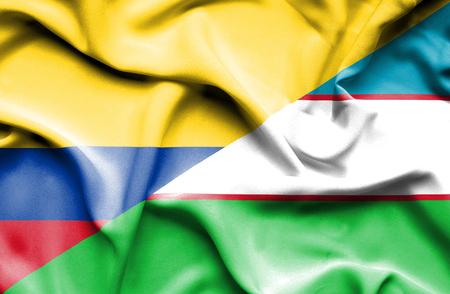 uzbekistan: Waving flag of Uzbekistan and Columbia Stock Photo