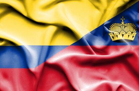 columbia: Waving flag of Lichtenstein and Columbia