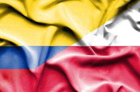 columbia: Waving flag of Poland and Columbia