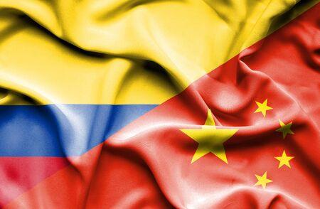 columbia: Waving flag of China and Columbia Stock Photo