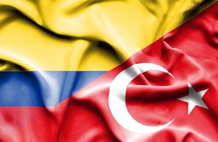 columbia: Waving flag of Turkey and Columbia