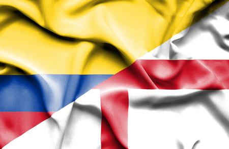 columbia: Waving flag of England and Columbia