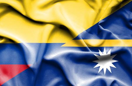 columbia: Waving flag of Nauru and Columbia