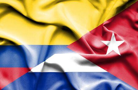 columbia: Waving flag of Cuba and Columbia