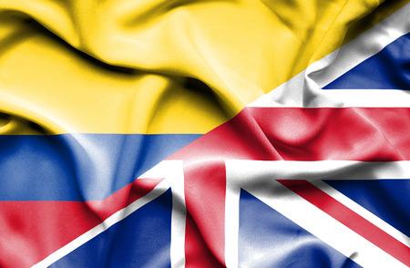 columbia: Waving flag of United Kingdon and Columbia