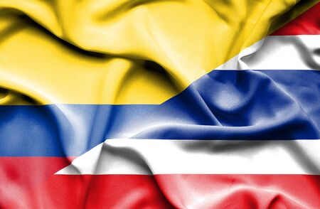 columbia: Waving flag of Thailand and Columbia Stock Photo