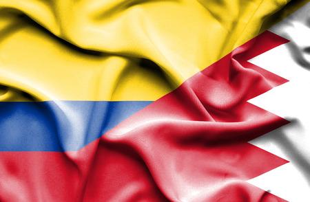 columbia: Waving flag of Bahrain and Columbia Stock Photo