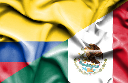 columbia: Waving flag of Mexico and Columbia