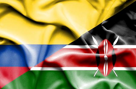kenya: Waving flag of Kenya and Columbia