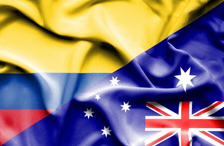 columbia: Waving flag of Australia and Columbia