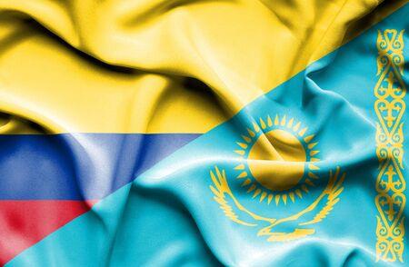 columbia: Waving flag of Kazakhstan and Columbia