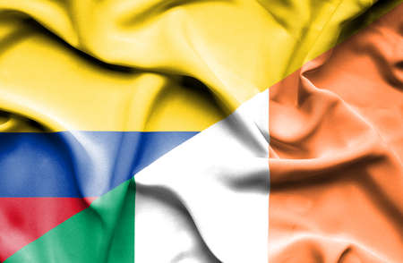 ireland flag: Waving flag of Ireland and Columbia