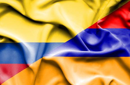 columbia: Waving flag of Armenia and Columbia