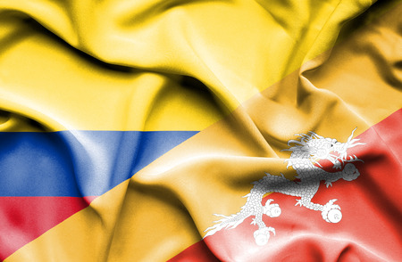 columbia: Waving flag of Bhutan and Columbia